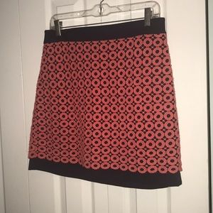 """Navy """"mini"""" skirt with coral overlay"""